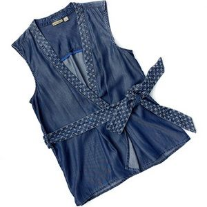 Holding Horses Chambray Belted Sleeveless Wrap Top